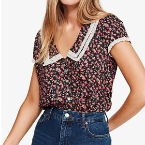 """NWT: FREE PEOPLE Lace-Trim """"Crop"""" Blouse"""